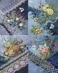 Wonderful Ribbon Embroidery Flowers by Hand Ideas. Enchanting Ribbon Embroidery Flowers by Hand Ideas. Silk Ribbon Embroidery, Hand Embroidery Designs, Embroidery Stitches, Embroidery Patterns, Quilt Patterns, Machine Embroidery, Embroidery Digitizing, Crazy Quilt Stitches, Crazy Quilt Blocks