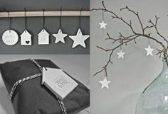 Decoratie hangers van klei. Leuk voor in de kerstboom, aan takken in een vaas, of om net dat extra's te geven aan een cadeautje.