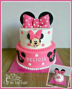 Minnie Mouse Cupcake Cake, Mini Mouse Birthday Cake, Mini Mouse Cake, Minnie Mouse Birthday Decorations, Bolo Minnie, Mickey Cakes, Baby Birthday Cakes, Mickey Birthday, 2nd Birthday