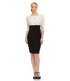 Sangria Shimmer Lace-Bodice Shutter Sheath Dress | Dillards.com