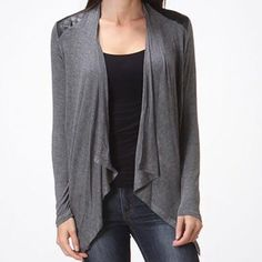 Coming soon! Gray cardigan faux leather accents •Coming soon! •Gray with black faux leather accents •Long sleeved •Thin tee-shirt material  •Gray color is the only one available. •S-M-L available •Please ask me for your size •DO NOT PURCHASE THIS LISTING angelmueller Tops