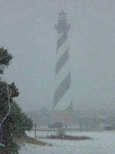 Snow on the Island -- Cape Hatteras Light House -- Cape Hatteras Island, NC Outer Banks North Carolina beach