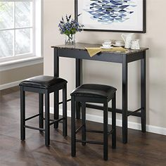 The Devyn #3-Piece Faux Marble Pub Dining Set is the perfect multi-purpose solution to practically any space. The table included in this set has a beautiful faux...