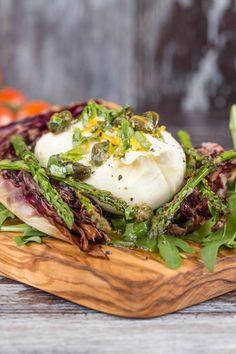 radicchi asparagus burrata salad with lemon caper manuka honey dressing