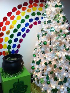 St. Patrick's Day Tree. Like the idea of a white tree with green and gold decorations