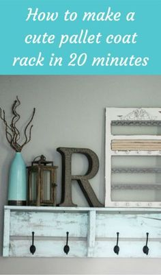 "How To Make A Cute Pallet Coat Rack In 20 Minutes [you know me - if it's a pallet, I'll do it. I call my décor ""pallet chic"". lol jh]"