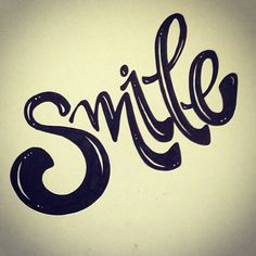 Smile hand lettering - type smile has motion Inspiration Typographie, Typography Inspiration, Creative Lettering, Lettering Design, Calligraphy Letters, Typography Letters, Word Art, How To Draw Hands, Graphic Design