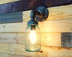 1923 1933 Mason Jar Wall Sconce Light Black Iron by ConshyUpcycle