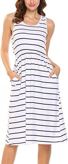 1e9524812995c Hount Women s Summer Sleeveless Striped Empire Waist Loose Midi Casual Dress  with Pockets (White
