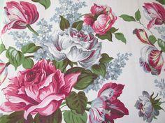 Vintage Barkcloth Drape - Pink Grey Cabbage Roses Lilacs Tulips