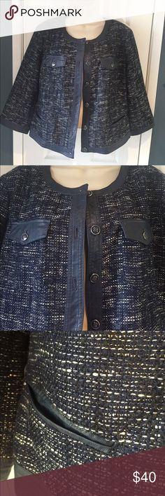 Lightweight tweed like jacket Perfect for Fall. Never worn, lightweight faux leather and tweed like material. Very chic and elegant. Wear to work or pair it with jeans and boots. New York & Company Jackets & Coats
