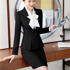 Fashion womens formal suits Office OL Uniform Designs long-sleeve blazer with skirt Suits Work Wear 2 piece Sets plus size 2019 Backless Shirt, Backless Mini Dress, Plus Size Clothing Stores, Plus Size Kleidung, Boho Summer Dresses, Uniform Design, Formal Suits, Mode Outfits, Classy Outfits