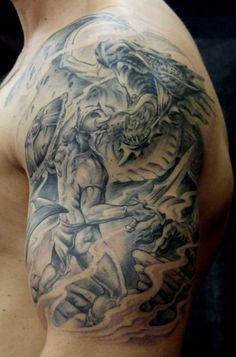Tattoo-Foto: Krieger mit Drachen ... Fertig!!! ;O)