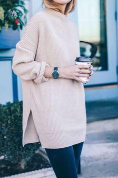 Side slit sweater.