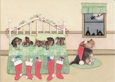 Amazon.com - Christmas cards: Yorkshire terrier (yorkie) family all tucked in for Santa / Lynch signed folk art print -