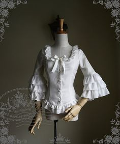 Musical Palmer Classic Lolita 7/10 Length Hime Sleeves Square Collar Fine Chiffon Blouse*FREE EXPRESS SHIPPING