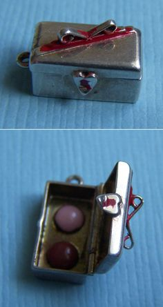 Vintage Enamel Box with Ribbon Opens to Makeup Sterling Charm | eBay