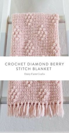 Tiffany's daughter Hannah here. I've been wanting to make some sort of diamond pattern blanket for a while, and I finally figured out that I could use the technique of our bobble polka dot blanket but cluster the bobble into a diamond pattern. Crochet Bebe, Crochet Girls, Knit Crochet, Crochet Crafts, Crochet Projects, Crochet Stitches, Crochet Patterns, Baby Girl Crochet Blanket, Bobble Stitch Crochet Blanket