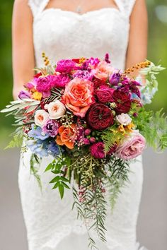Bohemian Wedding at the Sunshine Coast, Queensland Colorful bohemian wedding in sunny Australia, just look at this bouquet!Colorful bohemian wedding in sunny Australia, just look at this bouquet! Summer Wedding Bouquets, Floral Wedding, Trendy Wedding, Purple Wedding, Bright Wedding Colors, Summer Wedding Flowers, Bright Colors, Wedding Dresses, Colourful Wedding Flowers