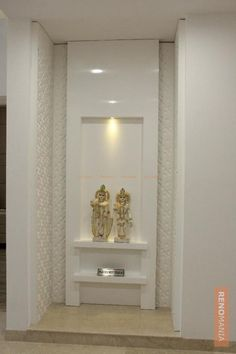 Modern Altar Cabinet for Your Home. The flat panel cabinet is now increasingly popular and has lots of fans. This is because, this type of cabinet using magnets, so. House Plans, Pooja Rooms, Decor, Home Interior Design, Indian Home Design, House Interior, Room, Room Design, Temple Room