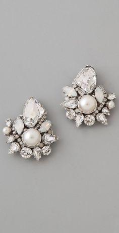 "Erickson Beamon ""White Wedding"" Crystal Earrings"