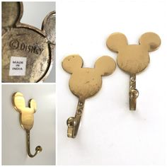Mickey Mouse by Disney heavy brass wall hooks set of 2, vintage, nursery baby boy girl bedroom bathroom, shiny polished gold de la boutique CDvintageAndCraft sur Etsy