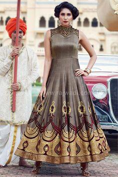 Cotton Silk Anarkali Suit... #brown #anarkali  #rajwadi #traditional #eidspecialdress #onlineshopping #ramadandresses #eidoutfits2017 #designer