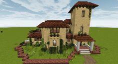 Spanish Villa/Finca Minecraft Map Minecraft Small Castle, Cute Minecraft Houses, Minecraft House Designs, Amazing Minecraft, Minecraft Projects, Minecraft Ideas, Minecraft Building Plans, Minecraft Modern House Blueprints, Villa Minecraft