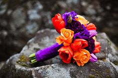Bouquet of Orange and Purple Tulips and Roses