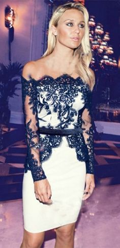 White Black Sheer Mesh Lace Long Sleeve Off The Shoulder Bodycon Midi Dress