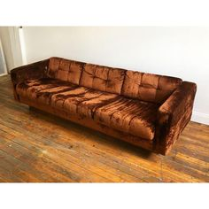 1970's crushed velvet floating sofa