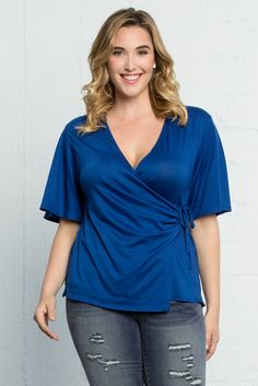 Looking a vibrant blue top to sport this weekend? Our plus size Hope Cinch Top in Colbat Blue will have you feeling patriotic. Made in the USA www.kiyonna.com
