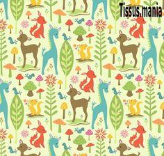 Un joli coupon de tissu americain de Riley Blake avec pour motif des cerfs sur fond vert clair.  serie:woodland tails  Tissu 100 % coton.    Ce tiss