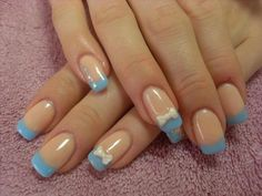 Cute light blue with white bows on the ring fingers