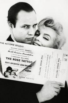 Marlon Brando and Marilyn Monroe photographed by Milton Greene, 1955.