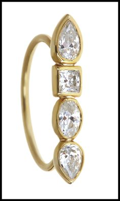 Pear shaped diamond Stepping Stone ring by Ilana Ariel; yellow gold.
