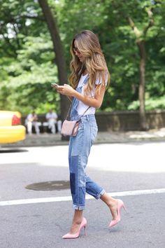 Overalls & pink heels.