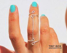 Jewelry Rings Chain Ring - New Knuckle Ring - Body Jewelry - Double Ring - 925 Silver Chain Ring Wire Jewelry, Boho Jewelry, Jewelry Accessories, Handmade Jewelry, Jewelry Rings, Jewlery, Jewelry Storage, Dainty Jewelry, Wooden Jewelry