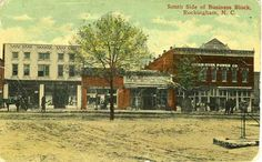 Postcard of Rockingham, NC business district, 1914. From the NC Museum of History, used courtesy of the NC Dept. of Cultural Resources.
