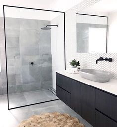 Bathroom inspiration by . Loving the black framed shower screen, contrast of tiles and concrete basin. Bathroom inspiration by . Loving the black framed shower screen, contrast of tiles and concrete basin. Grey Bathroom Tiles, Modern Bathroom Design, Bathroom Interior Design, Bathroom Flooring, Small Bathroom, Master Bathroom, Bathroom Black, Bathroom Sinks, Bathroom Cabinets
