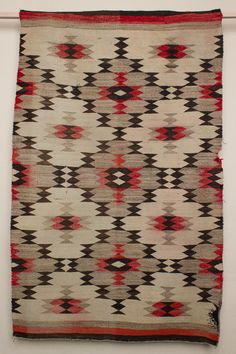 Red, Brown and White Navajo Rug