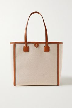 Mark Cross Antibes Textured Leather-trimmed Canvas Tote In Brown Brown Texture, Mark Cross, Antibes, Red Interiors, Personal Shopping, Shopping Bag, Vans, Loafers, Beige