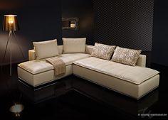 Exklusvie #Leder-Couch in Leder (angel ivory) mit hohem Sitzkomfort.