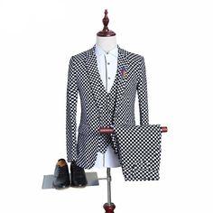 Black White Plaid Herringbone Retro Gentleman Style Custom Made Men's Suits Tailor Suit Blazer Suits For Men (Jacket+Pant+Vest) - On Trends Avenue