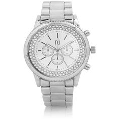 River Island Silver tone gem encrusted watch ($60) ❤ liked on Polyvore
