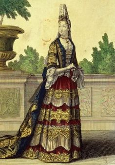Madame Francoise d'Aubigne Marquise de MAINTENON 1635-1719 2nd wife of King Louis XIV of France, 17th century French engraving by Bonnart  - stock photo