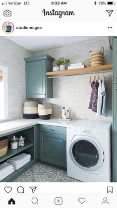 A new classic laundry room remodel with clay tiles, green cabinets, and patterne. A new classic laundry room remodel with clay tiles, green cabinets, and patterned tile flooring Mudroom Laundry Room, Laundry Room Layouts, Laundry Room Remodel, Laundry Room Cabinets, Farmhouse Laundry Room, Small Laundry Rooms, Laundry Room Organization, Laundry Room Design, Laundry Decor
