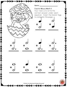 MUSIC: 24 Easter Music Math worksheets - with images for students to color! Addition, subtraction and create your own music math equations! Music Math, Music Classroom, Teaching Music, Teaching Kids, Classroom Resources, Music Lessons For Kids, Piano Lessons, Piano Recital, Music Worksheets