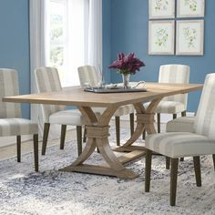 Dewitt Dining Table - too big, but love this style. Dinning Room Tables, Trestle Dining Tables, Solid Wood Dining Table, Dining Table In Kitchen, Extendable Dining Table, Table And Chairs, Dining Chairs, Room Chairs, 8 Person Dining Table