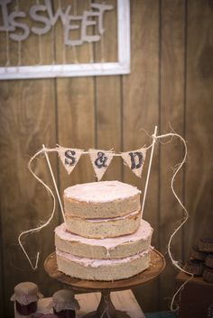 Sarah & Danny Wedding Photo By Estrada Wedding homemade earl grey cake with strawberry rhubarb frosting made by the bride